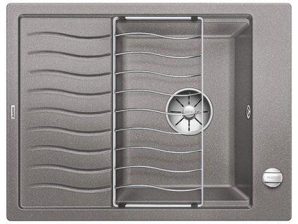 Granitový dřez Blanco ELON 45 S aluminium s excentrem + nerezová mřížka
