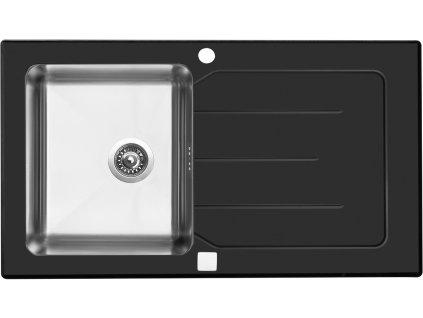 Nerezový dřez se sklem Sinks Vitrum 860 V černý  + Vůně do bytu Areon 85ml