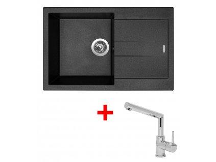 Akční set Sinks AMANDA 780 Metalblack a baterie MIX 350 P Lesklá  + Vůně do bytu Areon 85ml