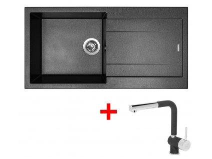 Akční set Sinks dřez AMANDA 990 + baterie MIX 3 P Metalblack  + Sinks čistící pasta