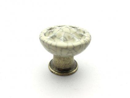 porcelanova knopka country bronz jasny porcelan popraskany