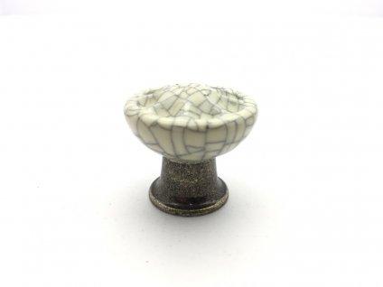 porcelanova knopka country bronz tmavy porcelan popraskany