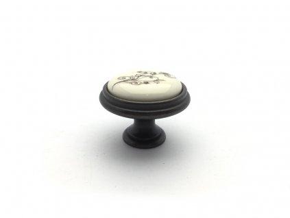 nabytkova knopka margatita i bronz porcelan bezovy kvet
