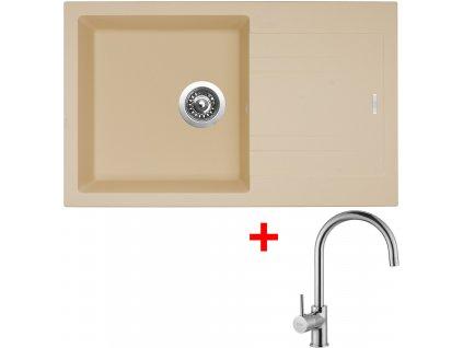 Set Sinks kuchyňský dřez LINEA 780 N sahara  + baterie VITALIA chrom