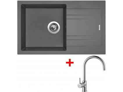 Set Sinks kuchyňský dřez LINEA 780 N titanium  + baterie VITALIA chrom