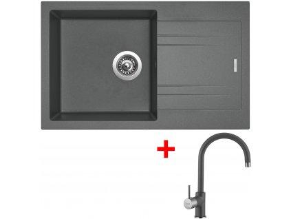 Set Sinks kuchyňský dřez LINEA 780 N  + baterie VITALIA Titanium