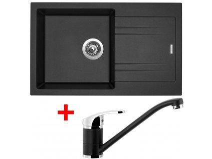 Set Sinks kuchyňský dřez LINEA 780 N  + baterie LEGENDA metalblack