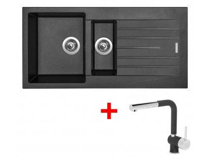 Akční set Sinks PERFECTO 1000.1 s vaničkou a odkapem + baterie MIX 3 P Metalblack