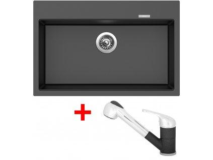 Akční set Sinks dřez MAXIMO 780 + baterie CAPRI 4 S Metalblack