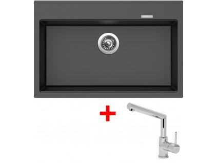 Akční set Sinks dřez MAXIMO 780 Metalblack + baterie MIX 350 P Chrom