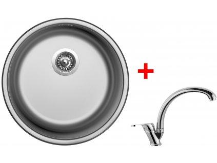 Akční set Sinks ROUND 450 V matný + baterie EVERA