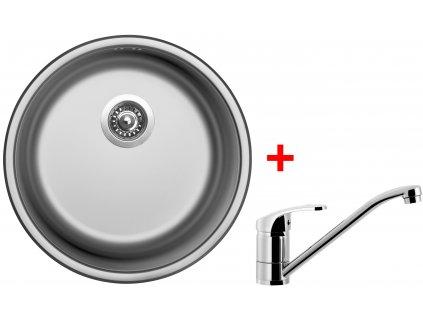 Akční set Sinks ROUND 450 V matný + baterie PRONTO
