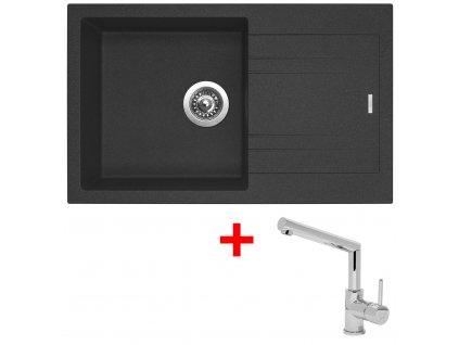Akční set Sinks dřez LINEA 780 N Granblack + baterie MIX 350 P Chrom  + Vůně do bytu Areon 85ml