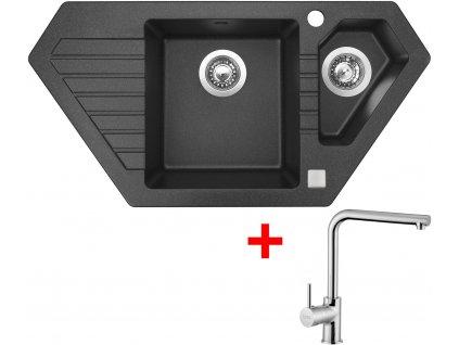 Akční set Sinks dřez Bravo 850.1 Granblack + baterie ELKA Chrom