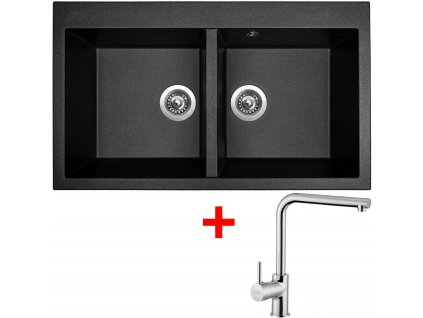 Akční set Sinks dřez AMANDA 860 DUO Metalblack + baterie ELKA Chrom  + Sinks čistící pasta