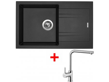 Akční set Sinks dřez LINEA 780 N Metalblack + baterie ELKA Chrom  + Sinks čistící pasta
