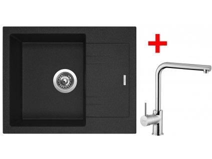 Akční set Sinks dřez LINEA 600 N Granblack + baterie ELKA Chrom  + Sinks čistící pasta