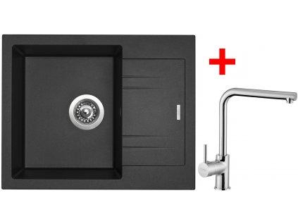 Akční set Sinks dřez LINEA 600 N Metalblack + baterie ELKA Chrom