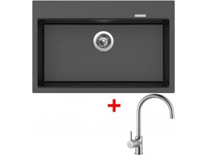 Akční set Sinks MAXIMO 780 Metalblack + baterie VITALIA Chrom  + Sinks čistící pasta