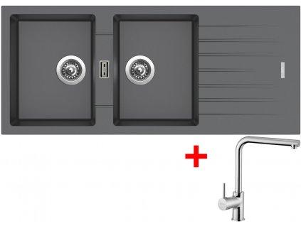 Akční set Sinks dřez PERFECTO 1160 DUO Titanium + baterie ELKA Chrom  + Sinks čistící pasta