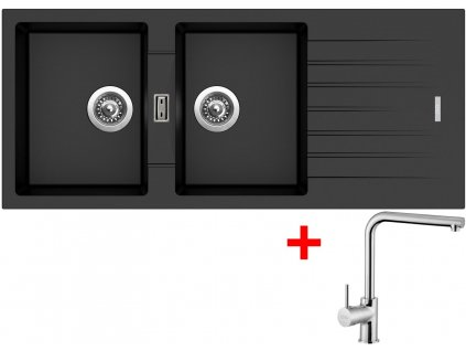 Akční set Sinks dřez PERFECTO 1160 DUO Metalblack + baterie ELKA Chrom  + Sinks čistící pasta