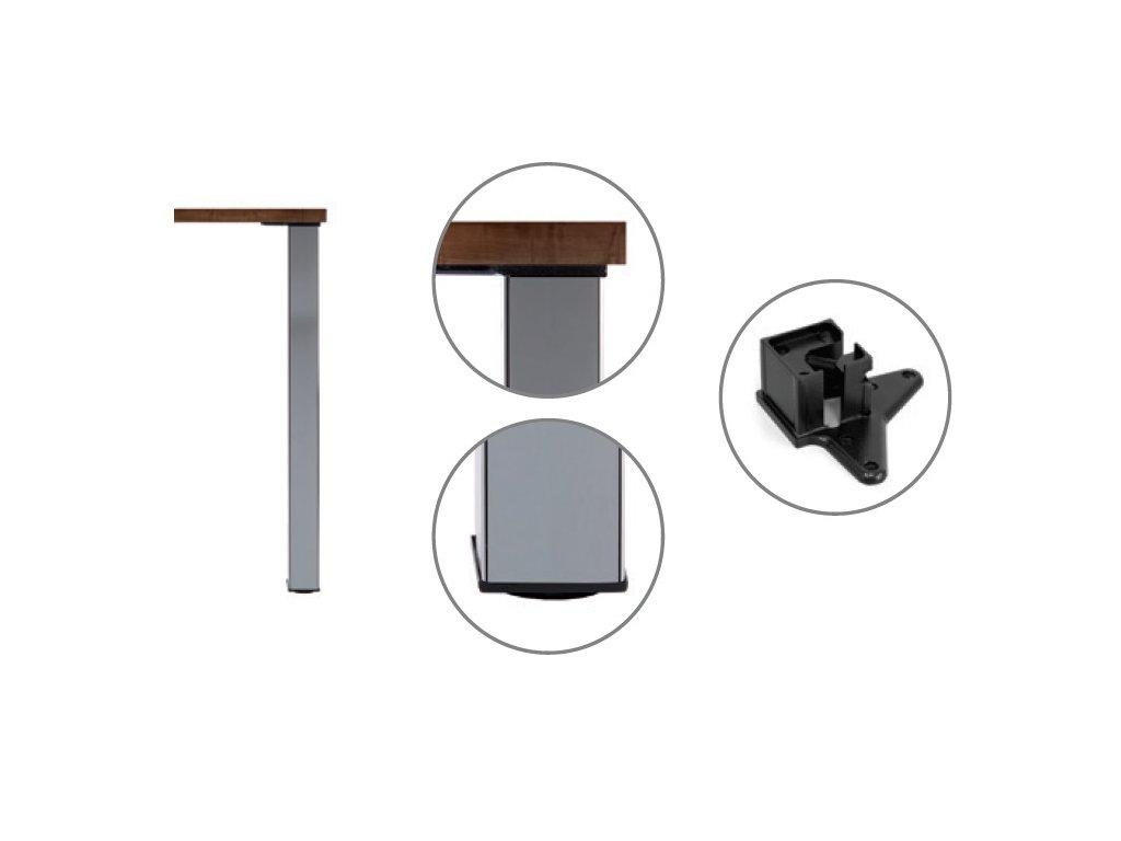 Stolová noha ocelový profil 60x60 710 mm (Barva/Provedení chrom)