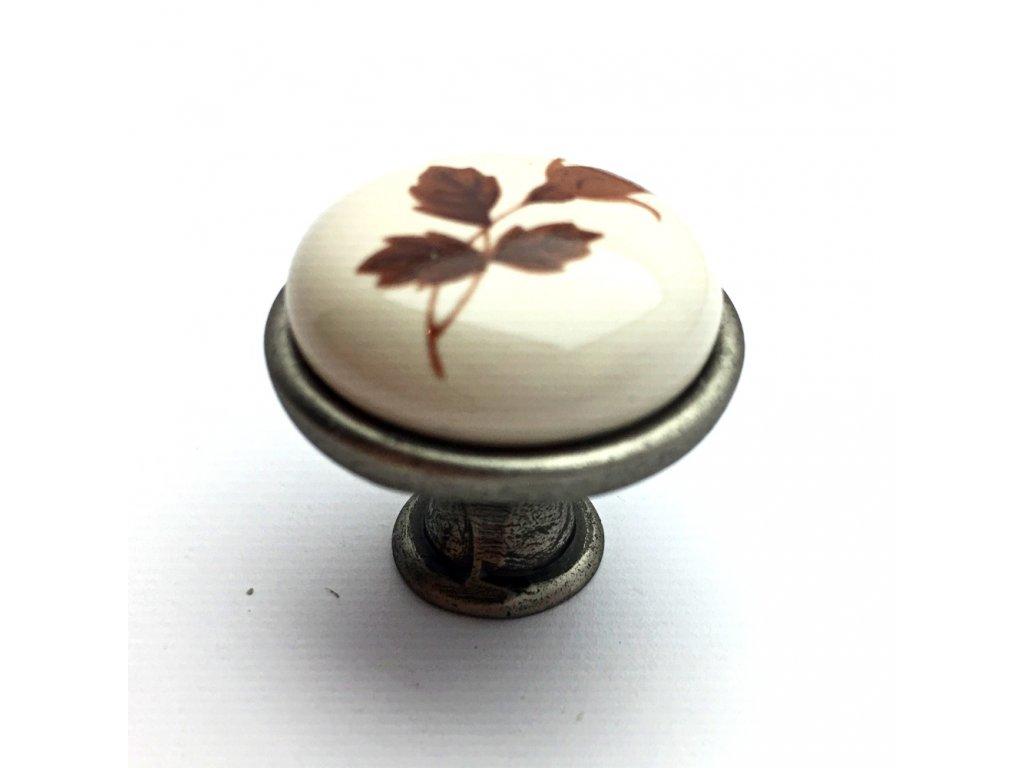 5166 nabytkova knopka tosca nikl patina porcelan s listkem