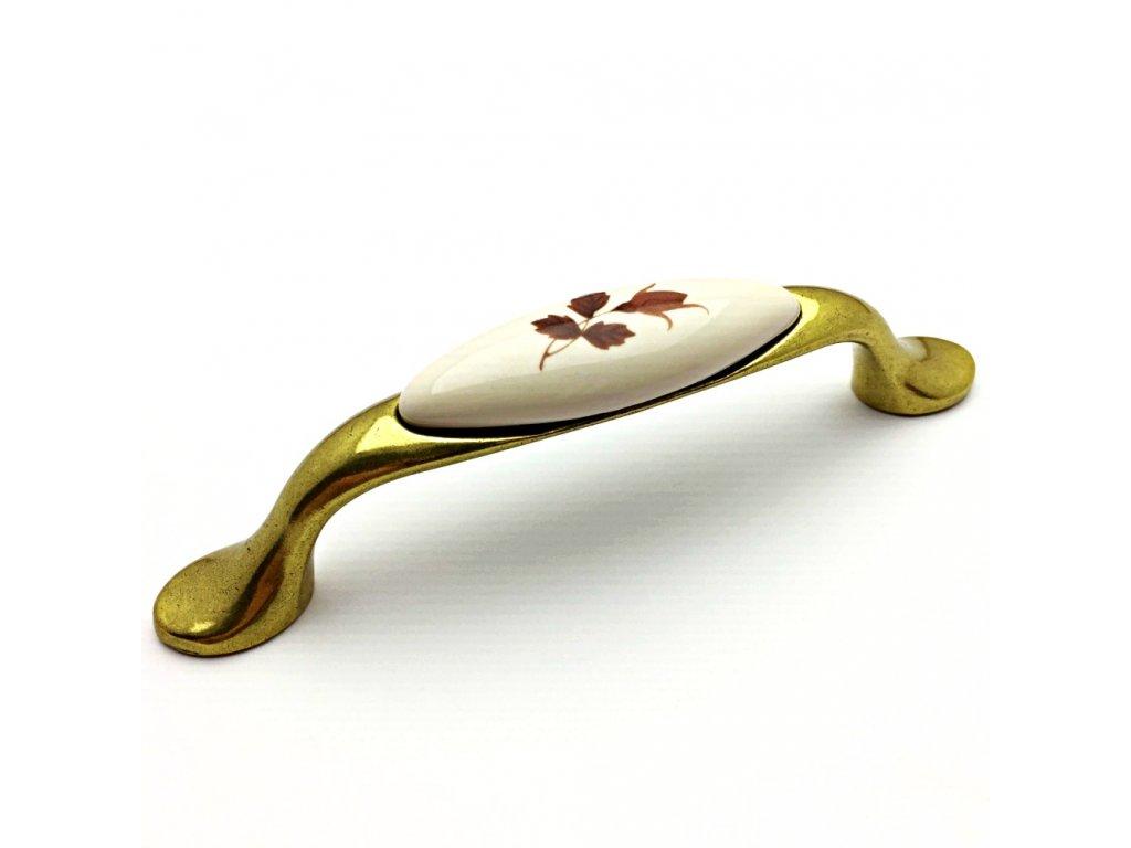 5175 nabytkova uchytka divera zlata antik porcelan s listky