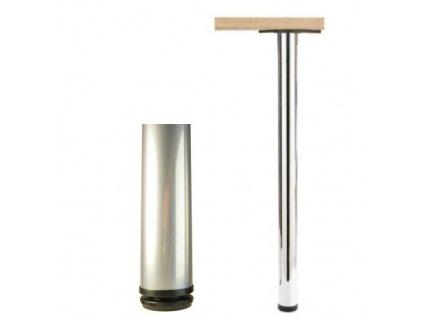 1863 stolova noha 710 mm kulata chrom saten
