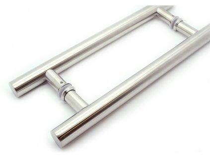 Dveřní nerezové madlo NURAY oboustranné nerez (Rozteč (mm) 455)