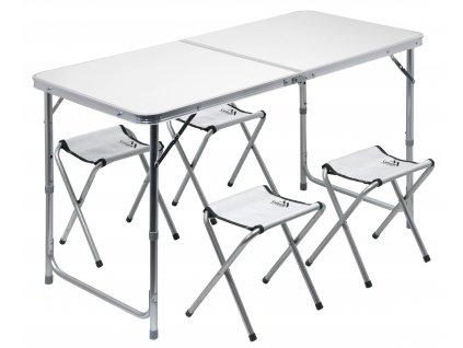 Stůl kemping DOUBLE teleskop. šedý + 4x židlička 13488