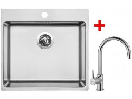 Akčný set Sinks BLOCKER 550 V kartáčovaný + batérie VITALIA Chróm  + Sinks čistiaca pasta 200g