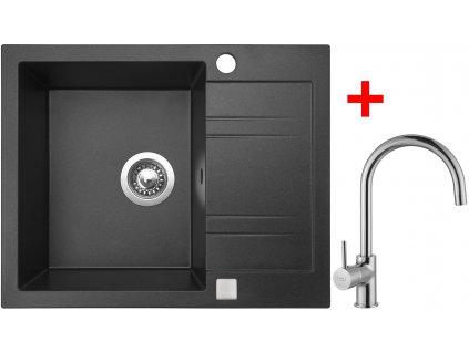 Akčný set Sinks drez LINEA 600 Granblack + batérie VITALIA Chróm  + Sinks čistiaca pasta 200g