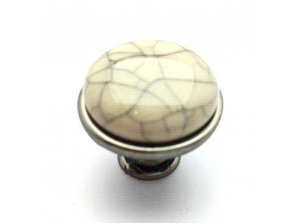 5169 nabytkova knopka tosca nikl patina popraskany porcelan