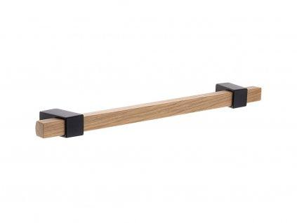 Nábytková úchytka BEAM drevená dub lak / čierna matná