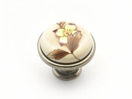 nabytkova knopka tosca nikl platina porcelan s kvitkem 1