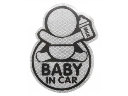 Dekor samolepící BABY IN CAR stříbrný 34320