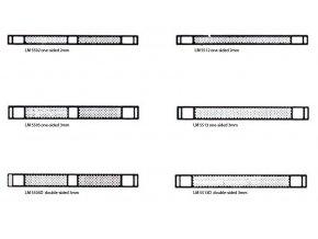 Pásky bez mezery, šířka 2 mm, 50 ks