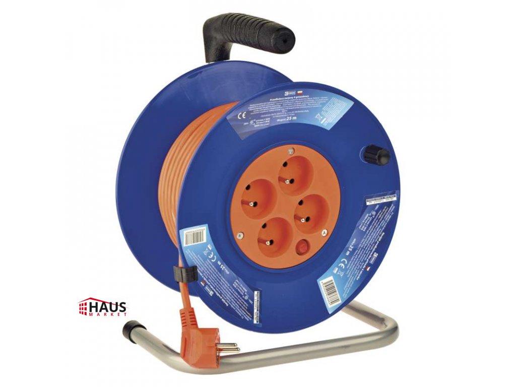 PVC predlžovací kábel na bubne – 4 zásuvky, 25m, 1mm2 P194252