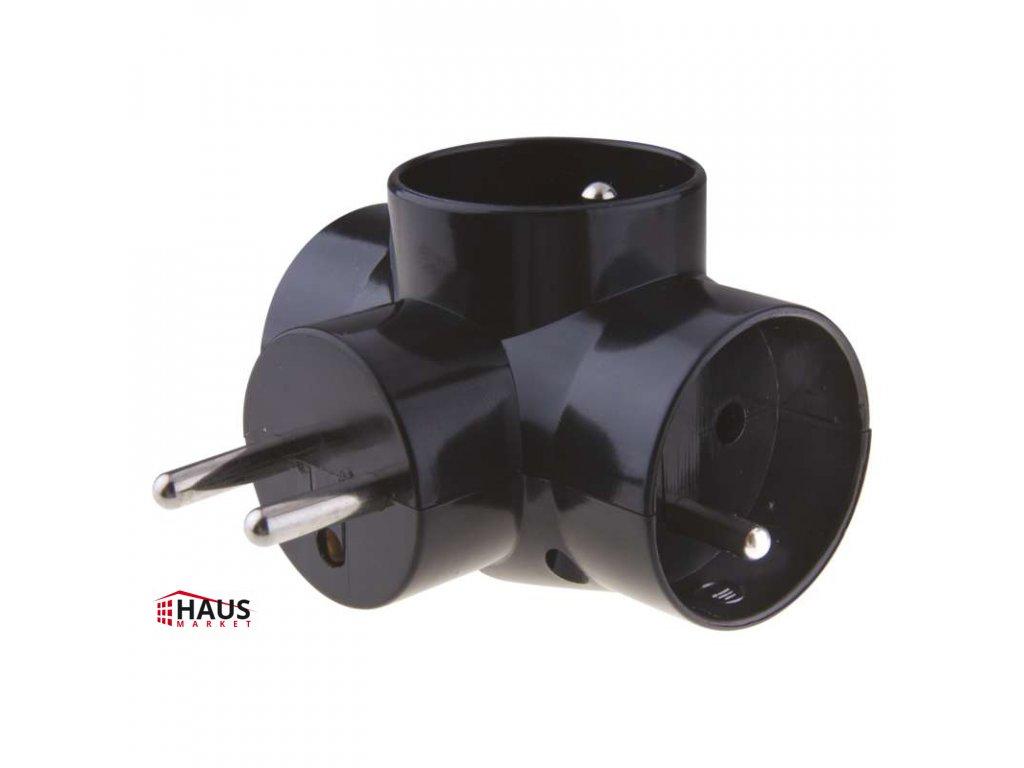 Rozbočovacia zásuvka 3× guľatá, čierny P0030