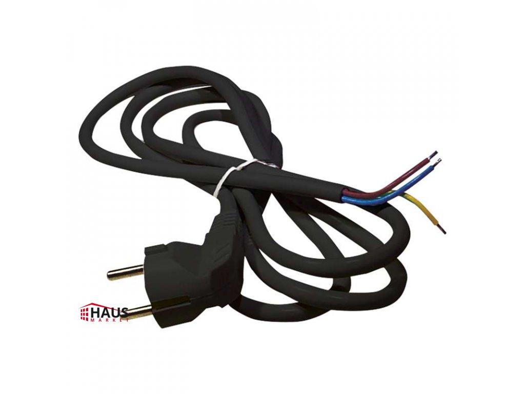 Flexo šnúra PVC 3× 1,5mm2, 2m, čierna S18322