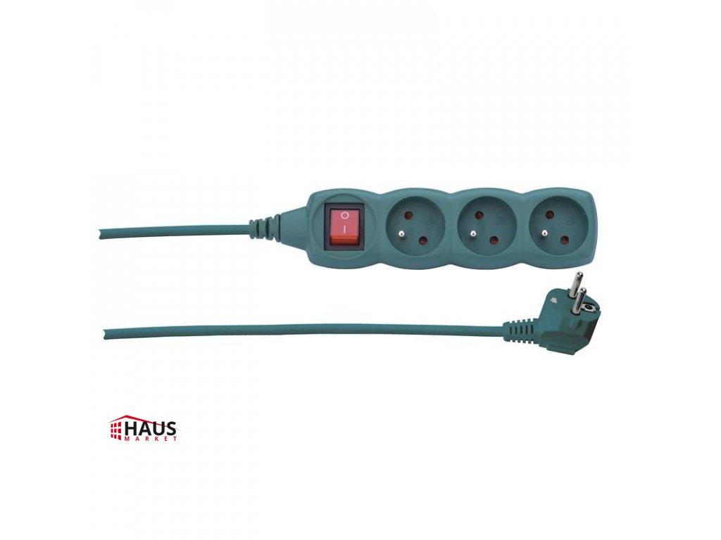 Predlžovací kábel s vypínačom – 3 zásuvky, 3m, zelená P1313Z