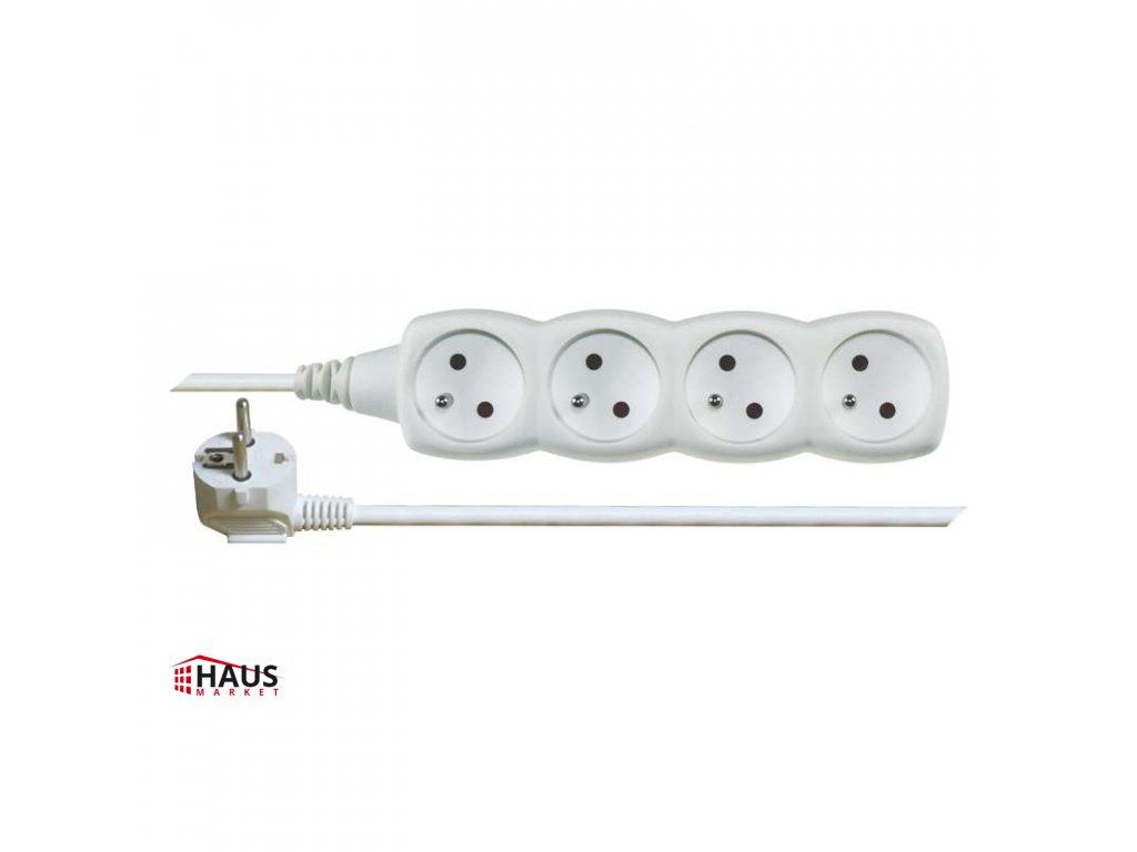 Predlžovací kábel – 4 zásuvky, 10m, biely P0410
