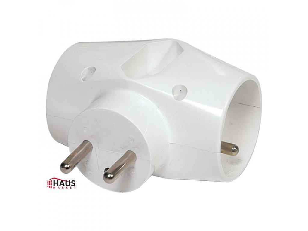 Rozbočovacia zásuvka 2× kulatá + 1× plochá, biela P0023