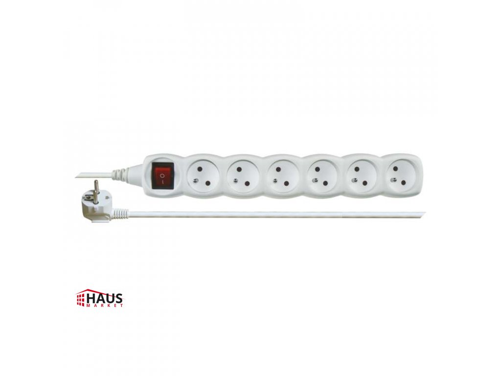 Predlžovací kábel s vypínačom – 6 zásuvky, 2m, biely P1612
