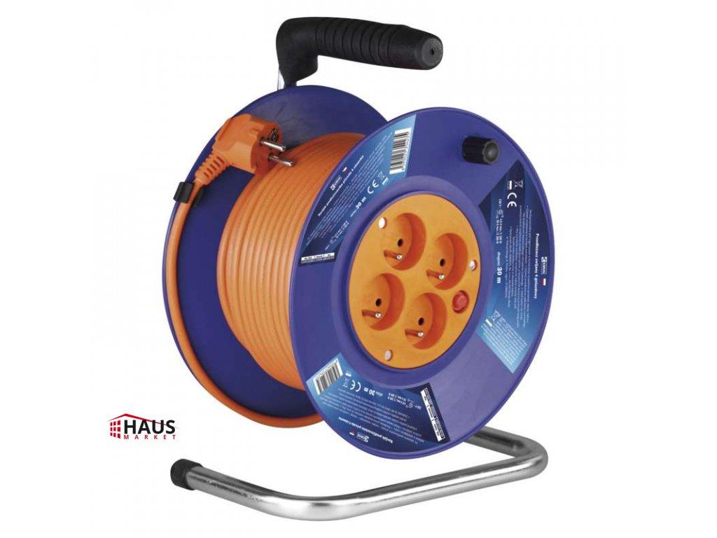 PVC predlžovací kábel na bubne – 4 zásuvky, 30m, 1mm2 P19430