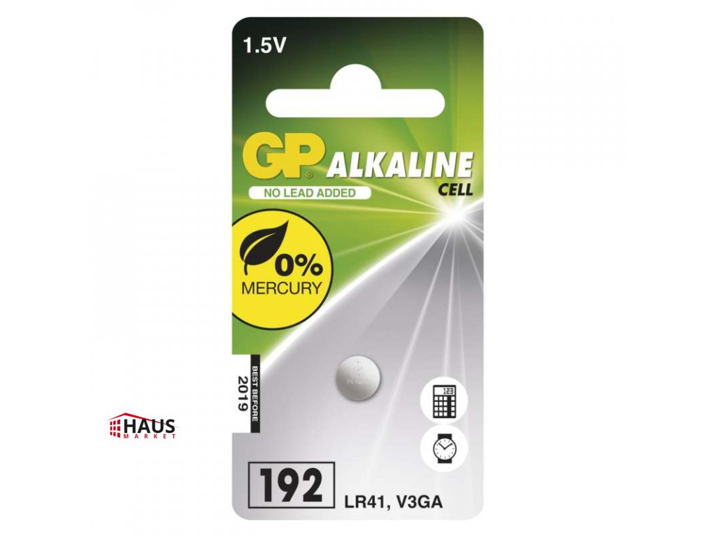 Alkalická gombíková batéria GP LR41 (192F) B13921