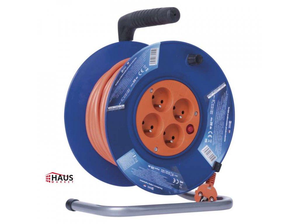 PVC predlžovací kábel na bubne – 4 zásuvky, 25m 1,5mm2 P19425