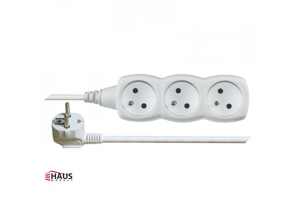 Predlžovací kábel – 3 zásuvky, 5m, biely P0315