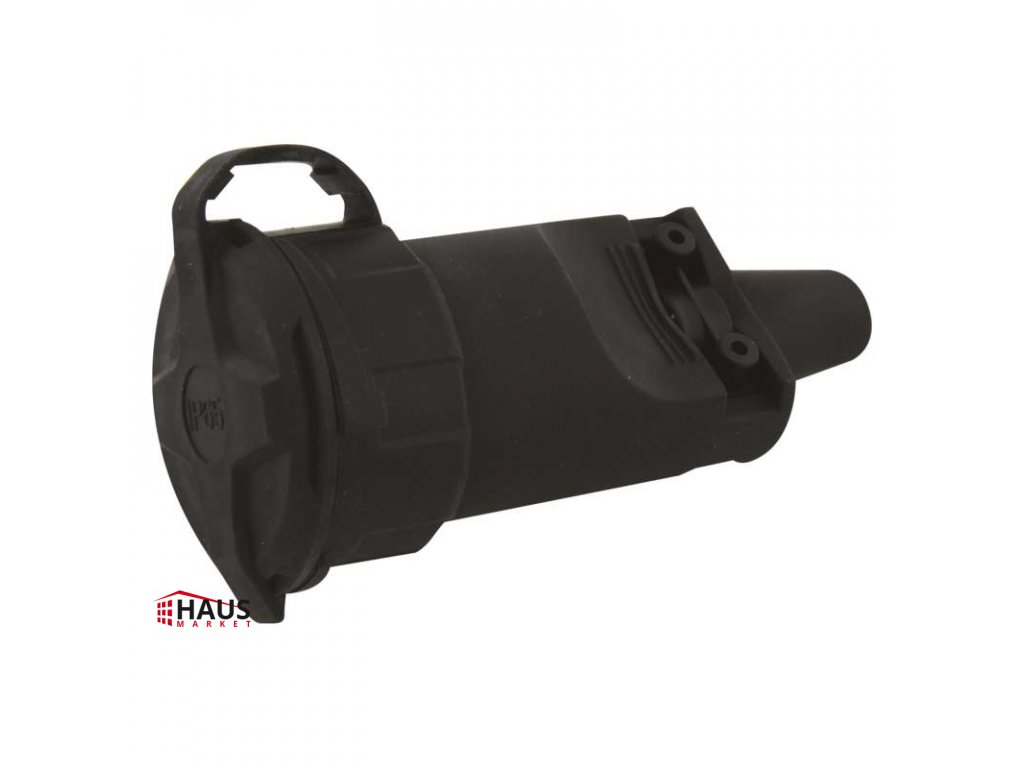 Gumová zásuvka pre predlžovací kábel, čierna P0044